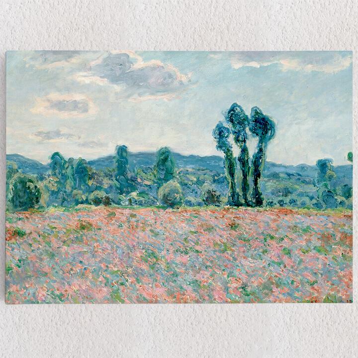 Personalisiertes Leinwandbild Mohnfeld bei Giverny