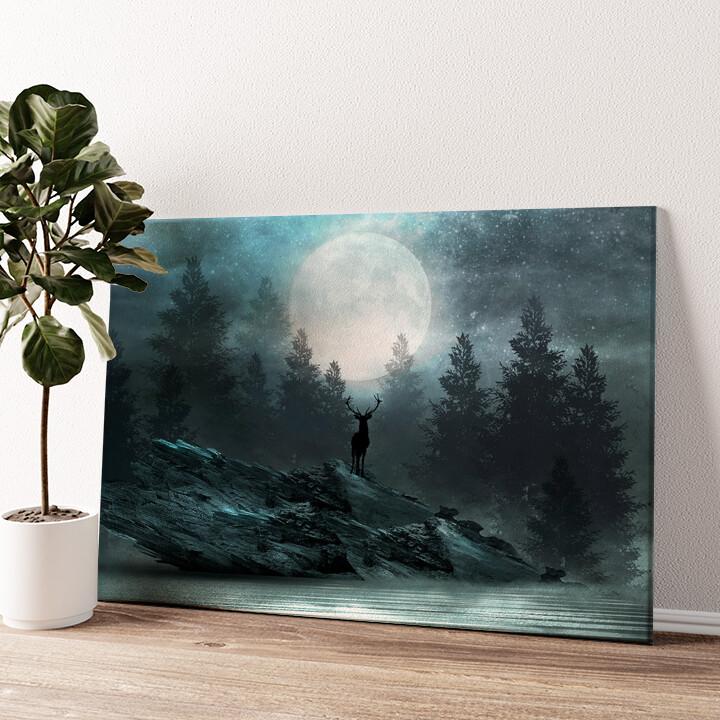 Fantasy Hirsch Wandbild personalisiert