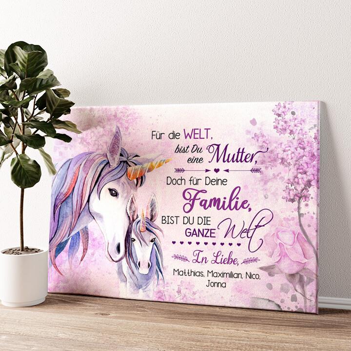 Einhornmutter Wandbild personalisiert