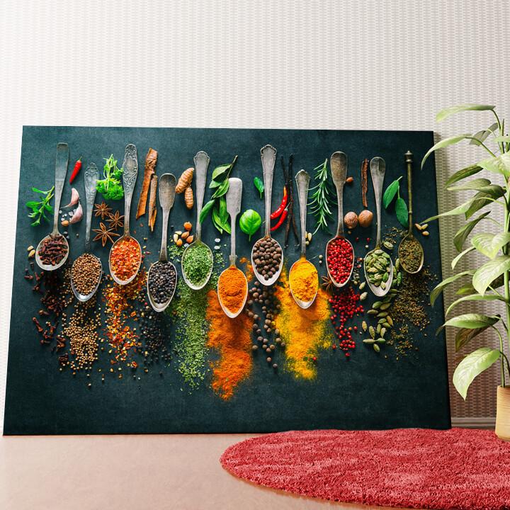 Personalisiertes Wandbild Gewürze auf Löffeln