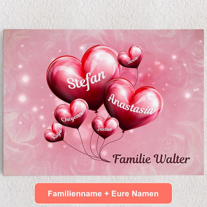 Personalisiertes Leinwandbild Familie mit Herz