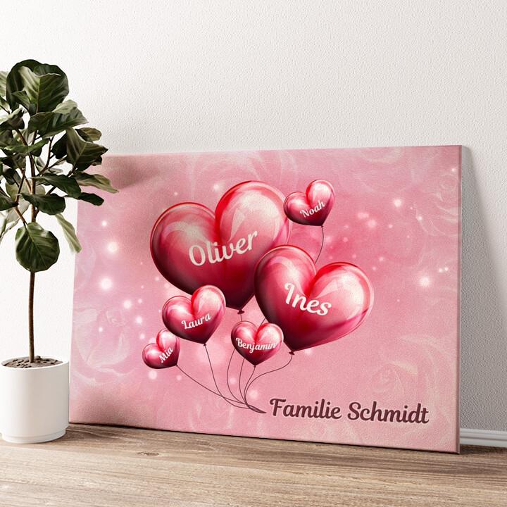 Familie mit Herz Wandbild personalisiert