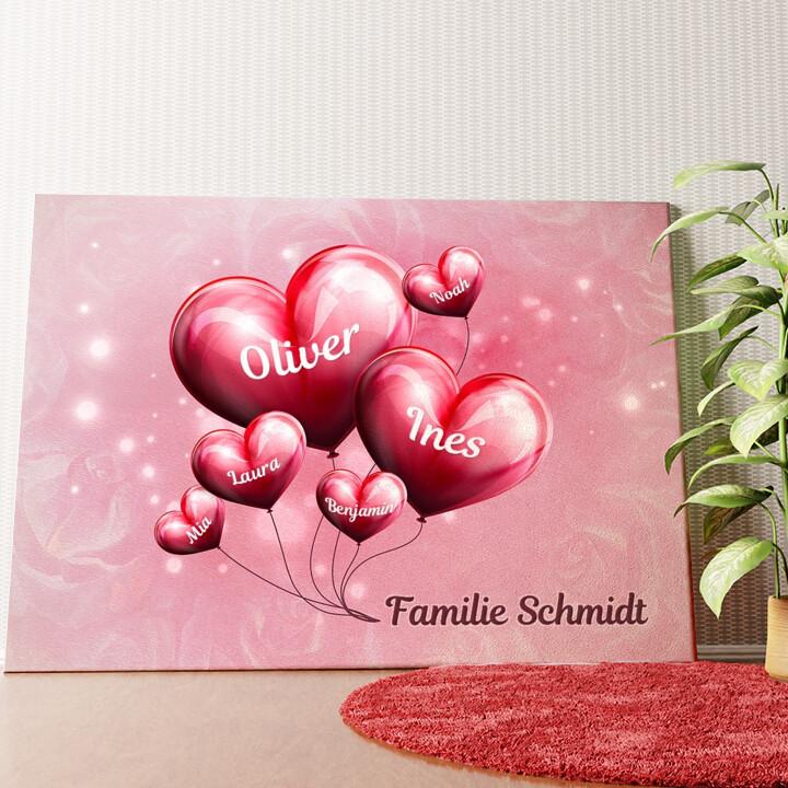 Personalisiertes Wandbild Familie mit Herz