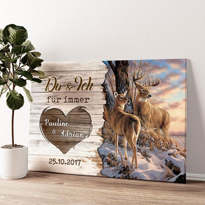 Hirschpaar Wandbild personalisiert
