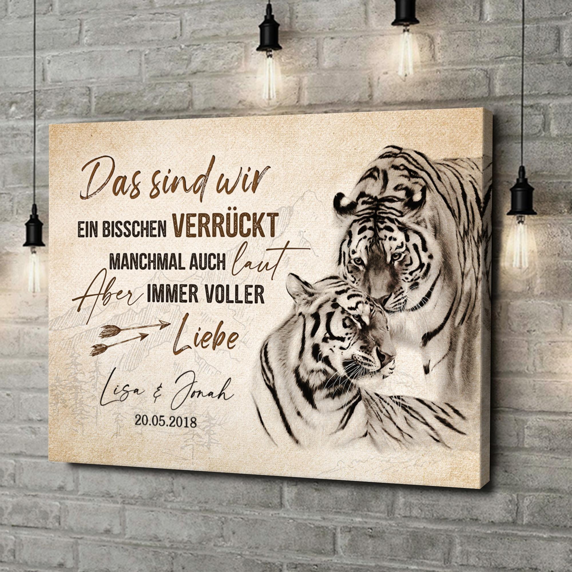 Leinwandbild personalisiert Tigerliebe