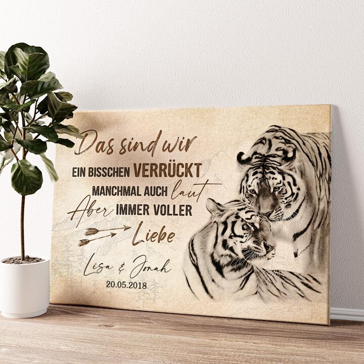 Tigerliebe Wandbild personalisiert