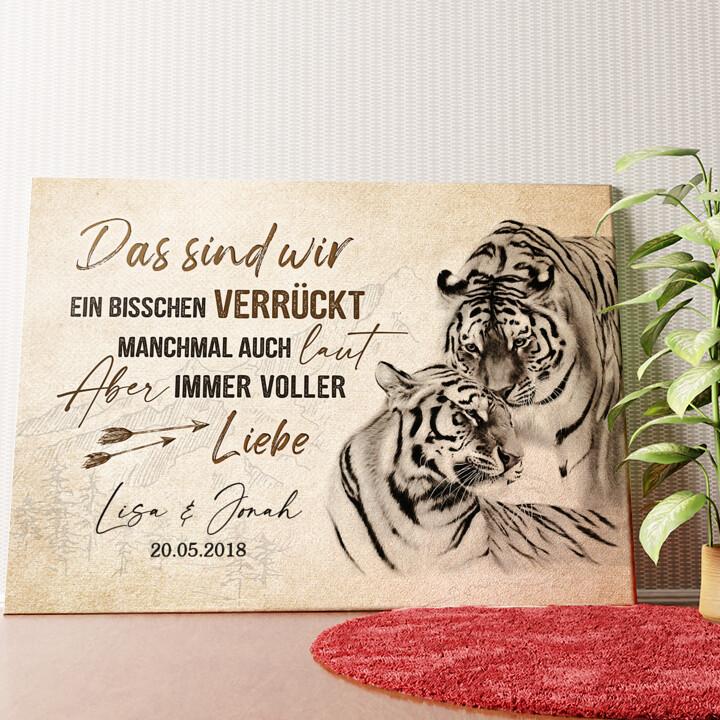 Personalisiertes Wandbild Tigerliebe