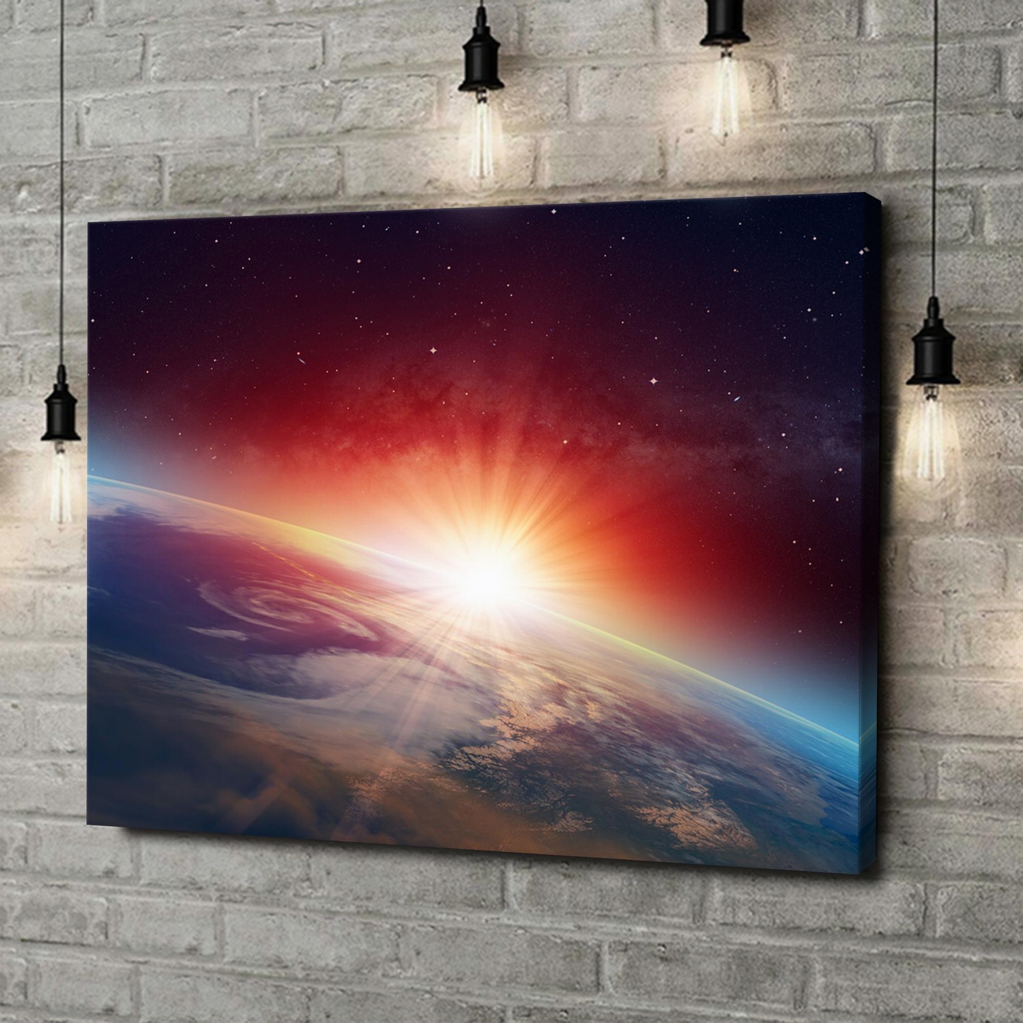 Leinwandbild personalisiert Sonnenaufgang im All