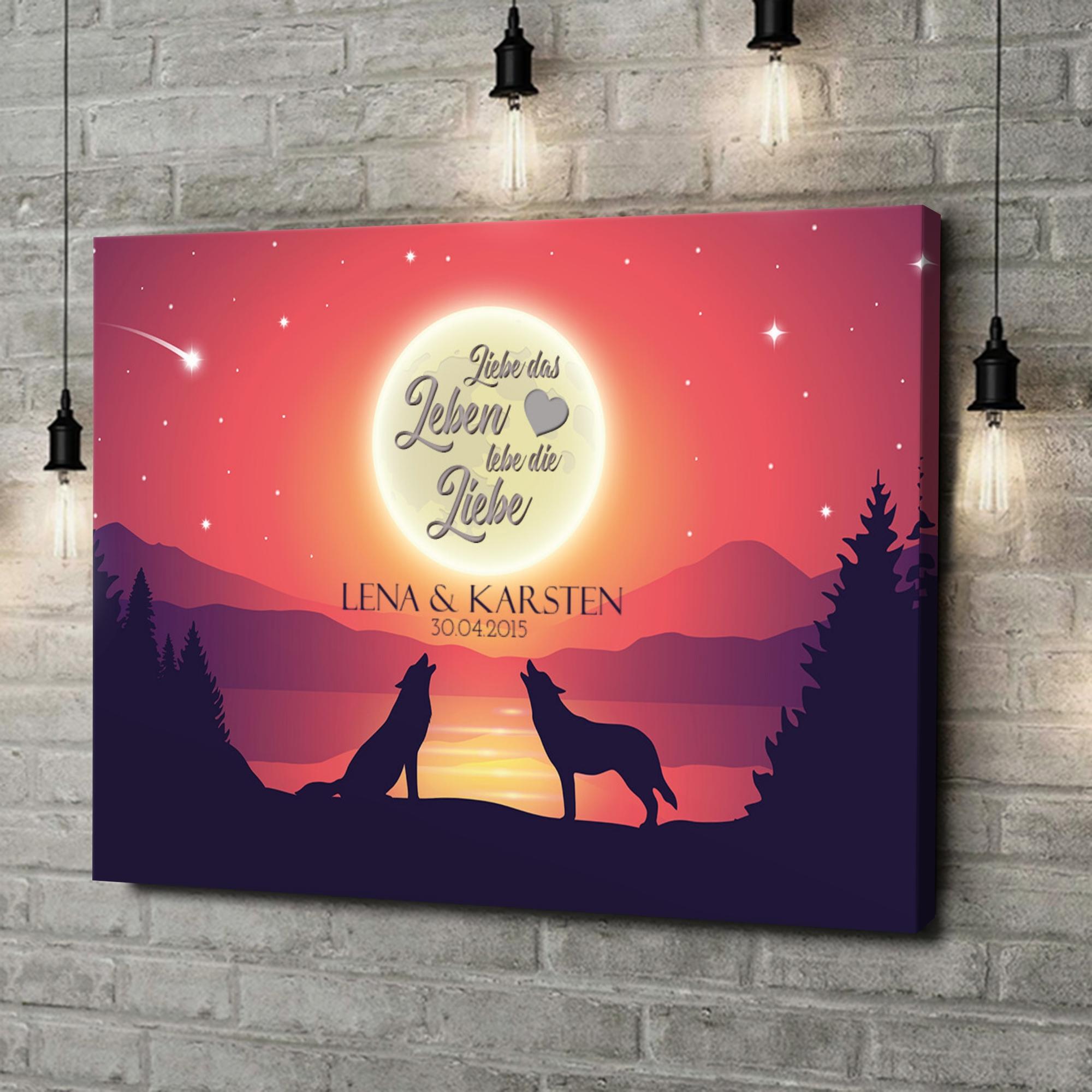 Leinwandbild personalisiert Liebe im Mondschein