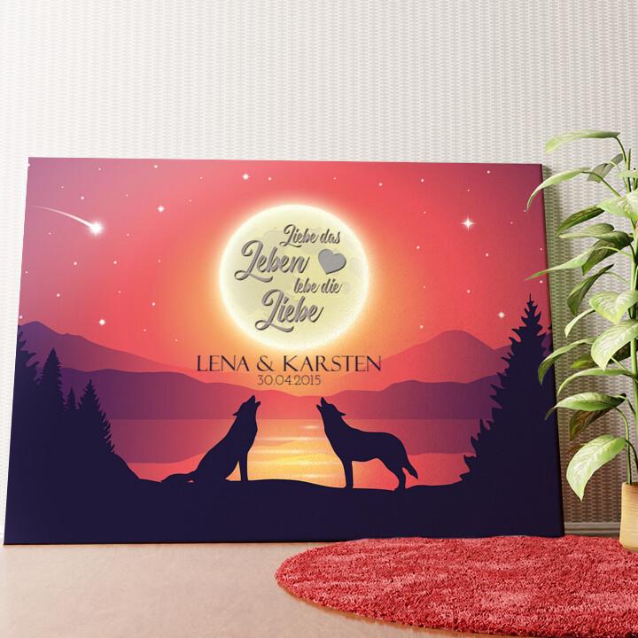 Personalisiertes Wandbild Liebe im Mondschein