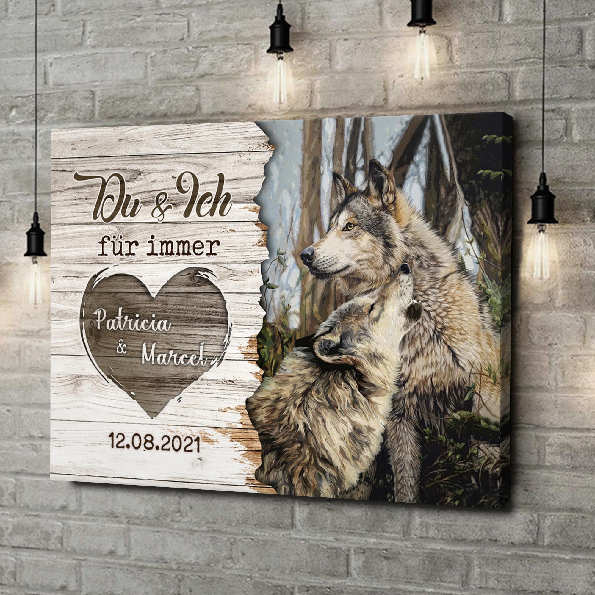 Leinwandbild personalisiert Wolfspaar