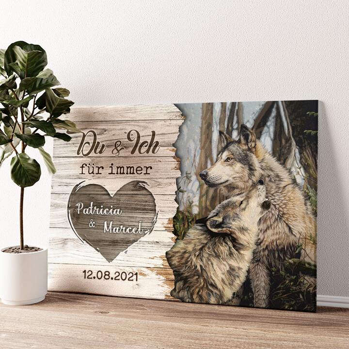 Wolfspaar Wandbild personalisiert