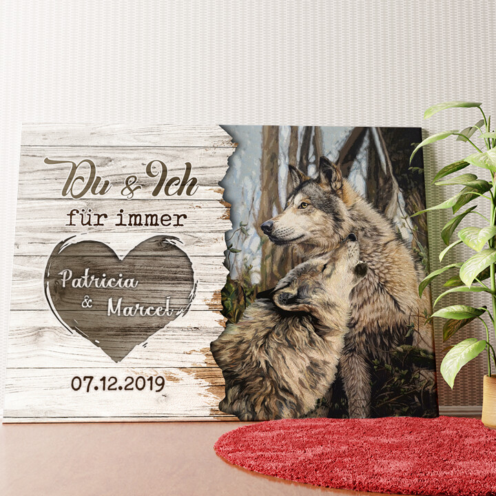 Personalisiertes Wandbild Wolfspaar