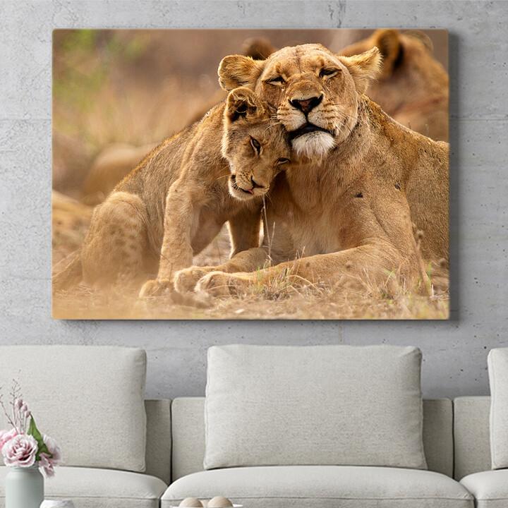 Personalisierbares Geschenk Löwe Mutter Kind Krüger Nationalpark