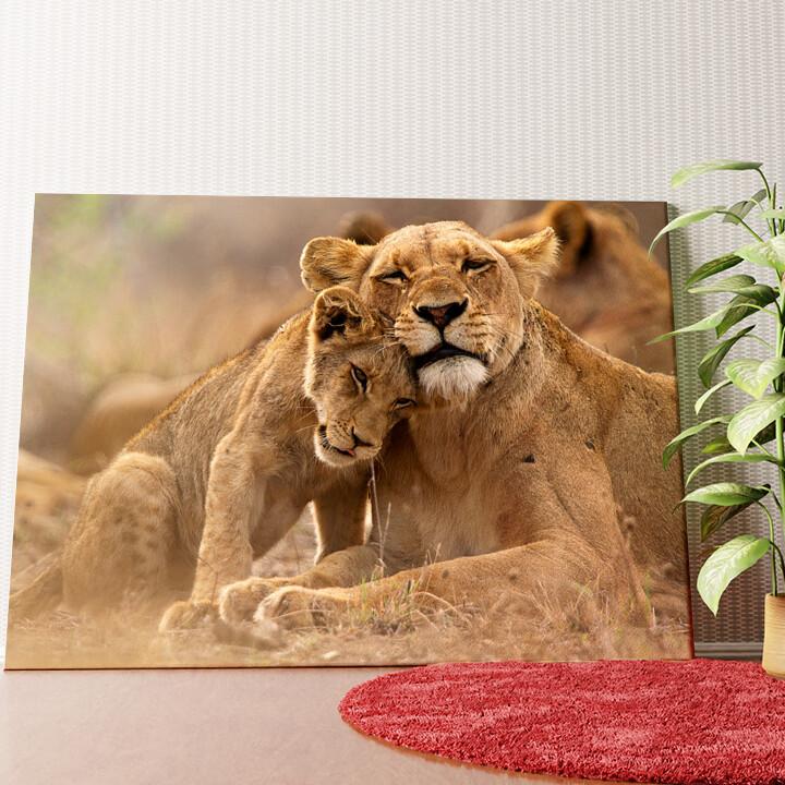 Personalisiertes Wandbild Löwe Mutter Kind Krüger Nationalpark