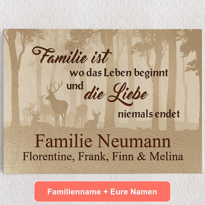 Personalisiertes Leinwandbild Familie und Leben