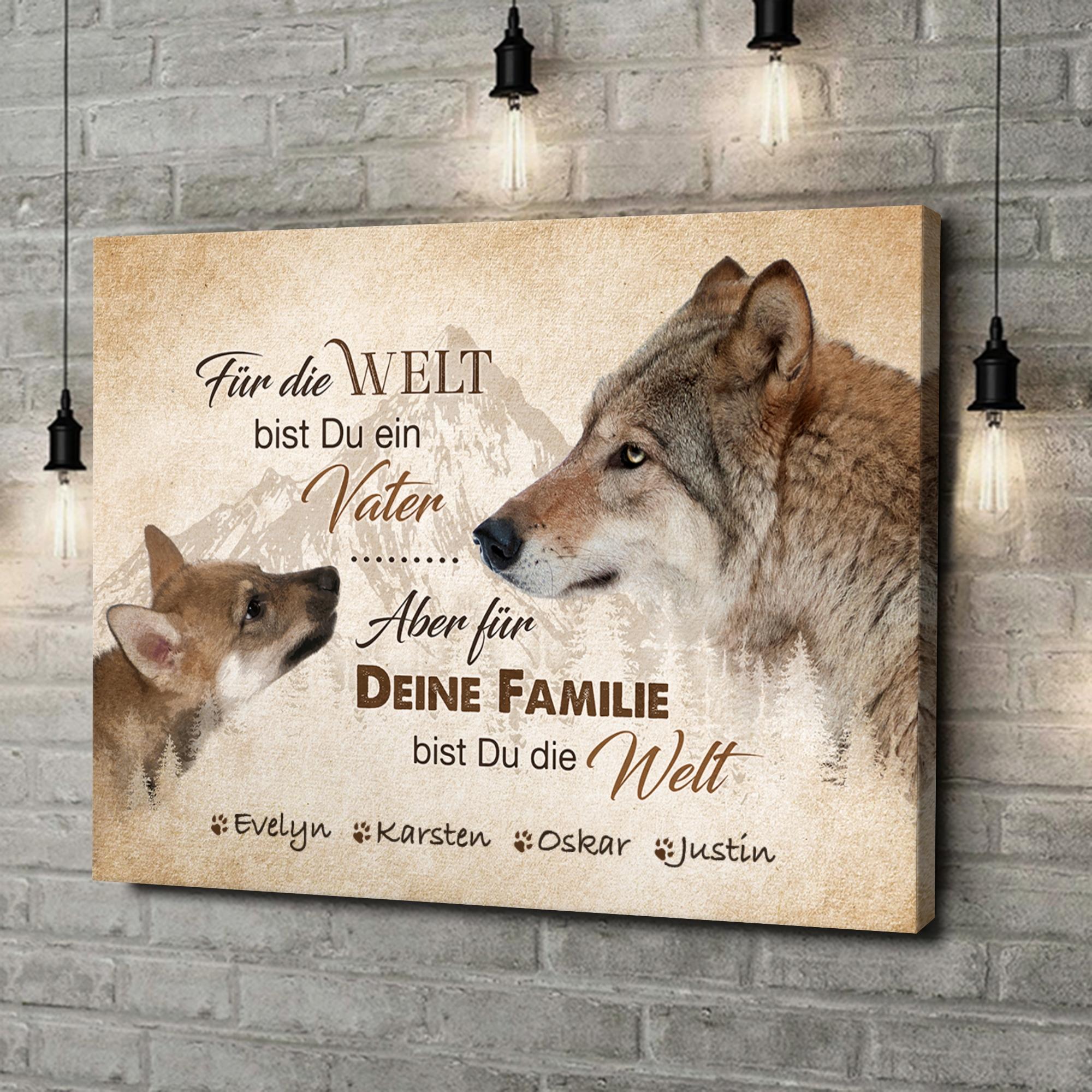 Leinwandbild personalisiert Wolfsvater