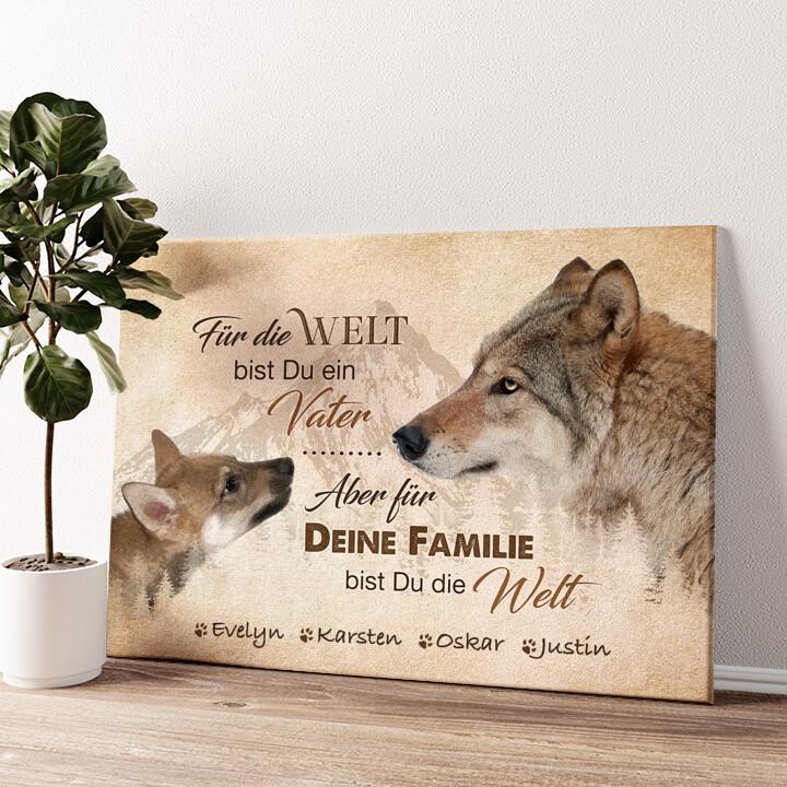 Wolfsvater Wandbild personalisiert