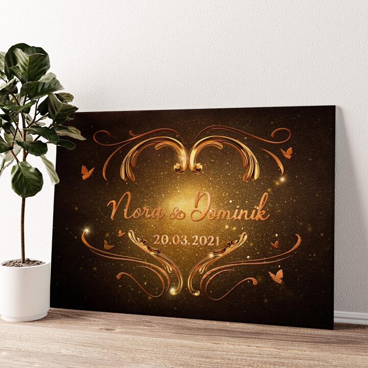 Strahlendes Herz Wandbild personalisiert