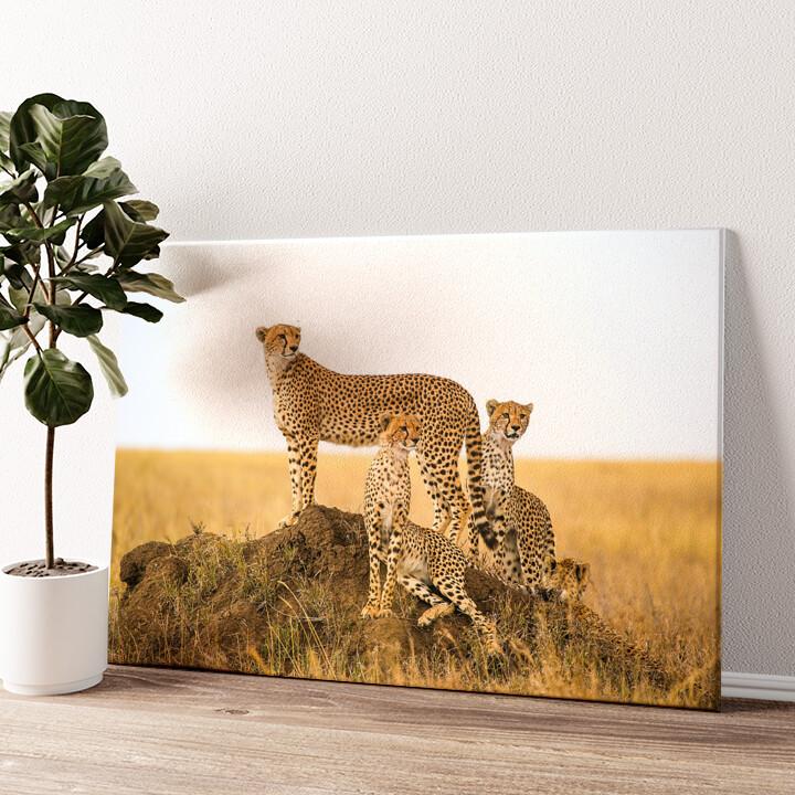 Geparden Serengeti Wandbild personalisiert
