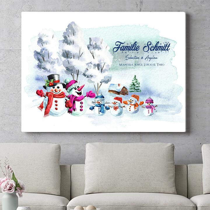 Personalisierbares Geschenk Schneemannfamilie