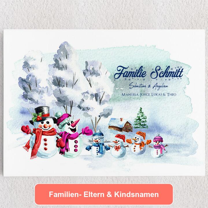 Personalisiertes Leinwandbild Schneemannfamilie
