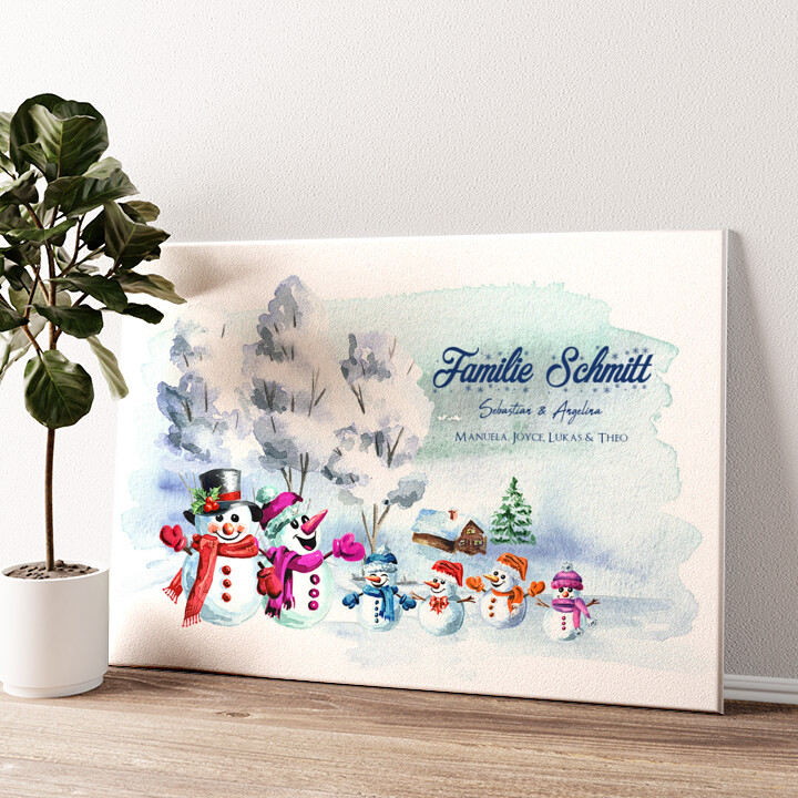Schneemannfamilie Wandbild personalisiert