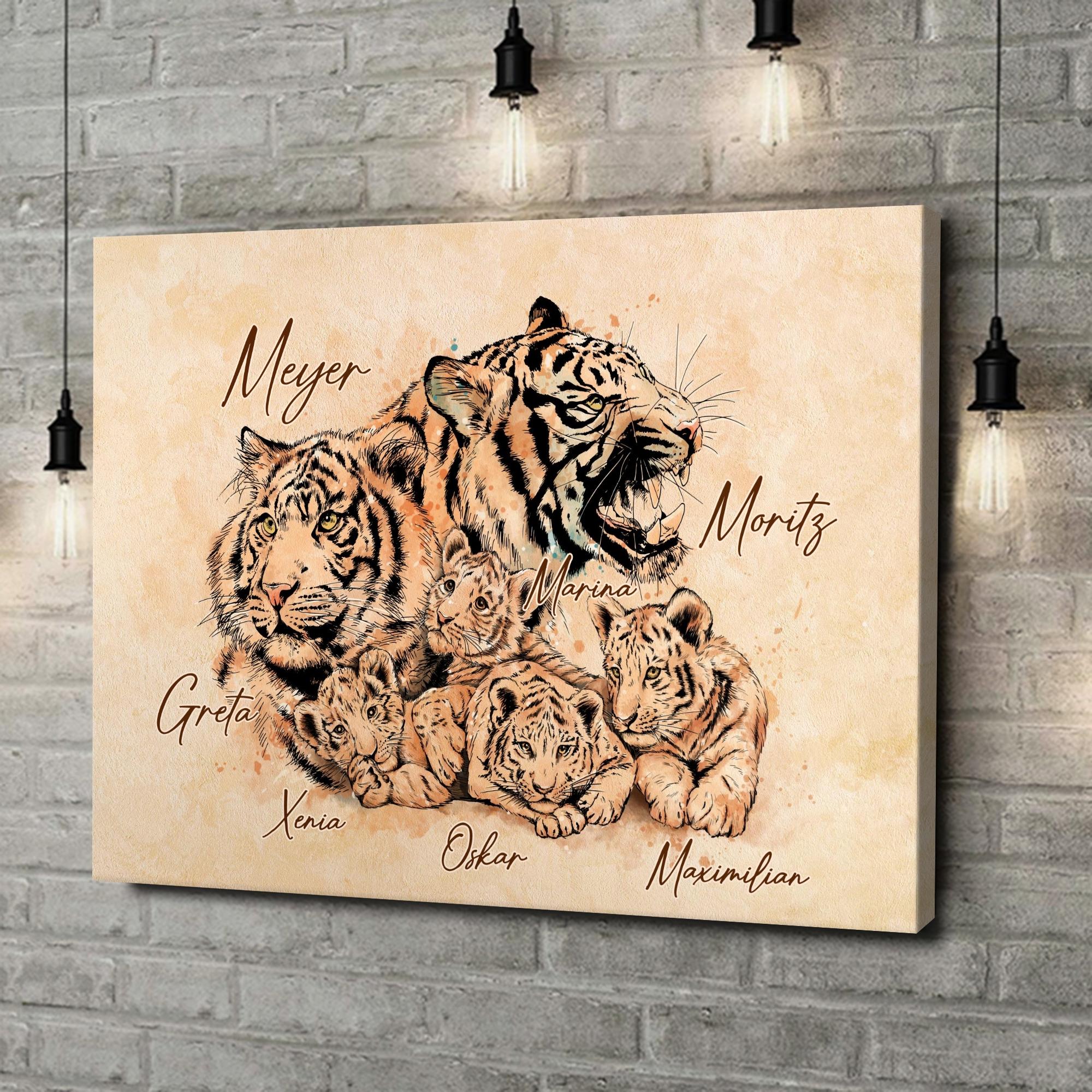 Leinwandbild personalisiert Tigerfamilie