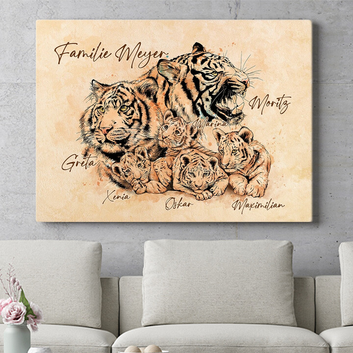 Personalisierbares Geschenk Tigerfamilie