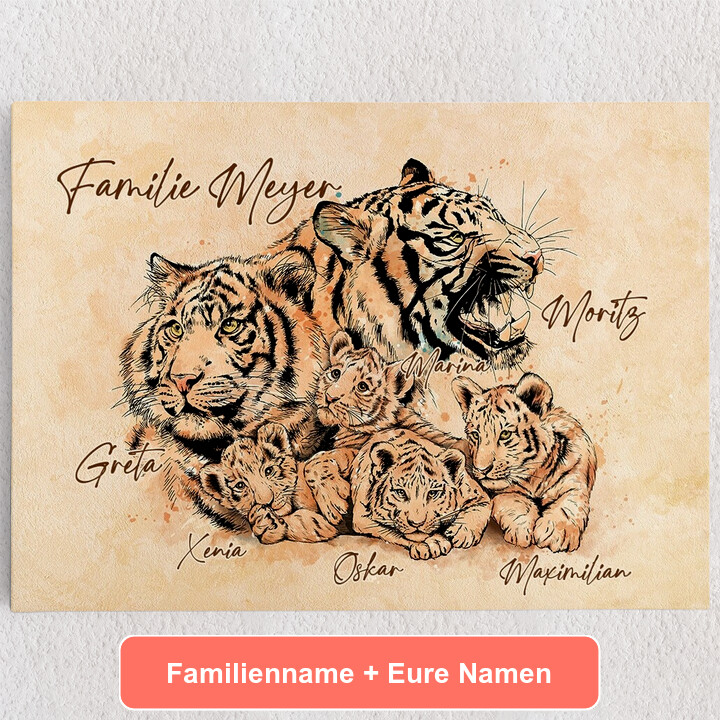 Personalisiertes Leinwandbild Tigerfamilie