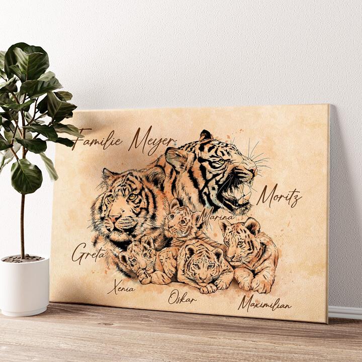 Tigerfamilie Wandbild personalisiert