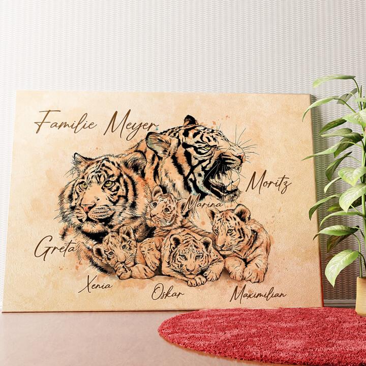 Personalisiertes Wandbild Tigerfamilie