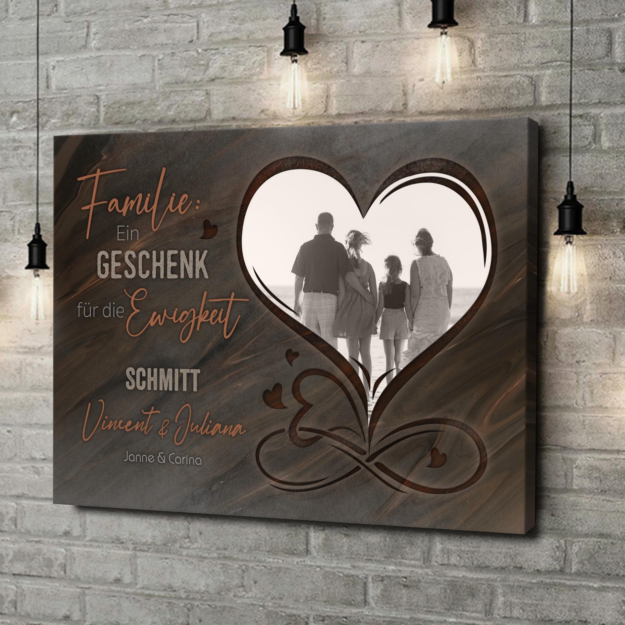 Leinwandbild personalisiert Familie für immer