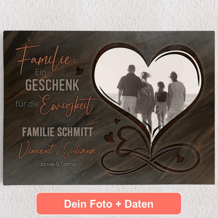 Personalisiertes Leinwandbild Familie für immer
