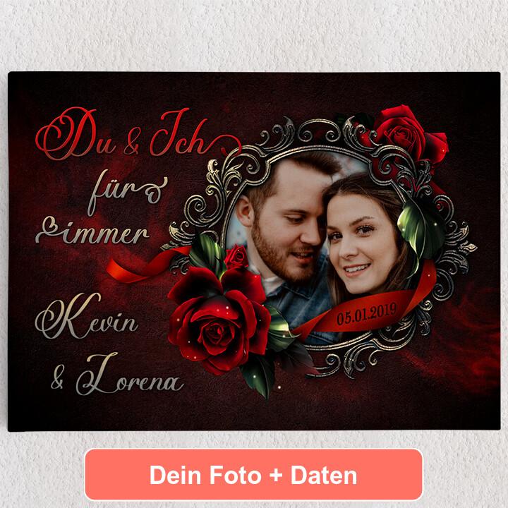 Personalisiertes Leinwandbild Rose für Dich
