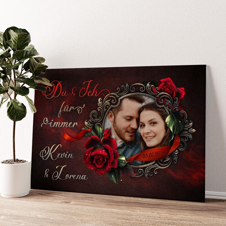 Rose für Dich Wandbild personalisiert