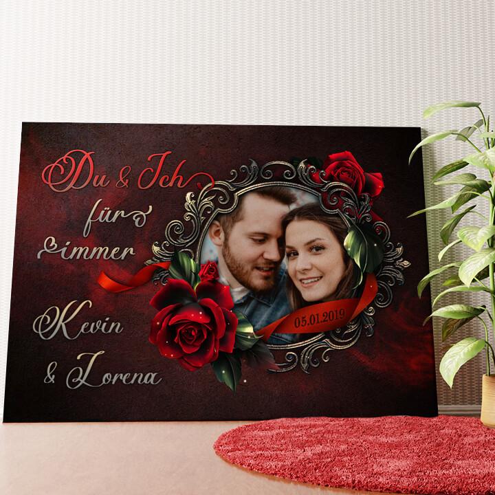 Personalisiertes Wandbild Rose für Dich