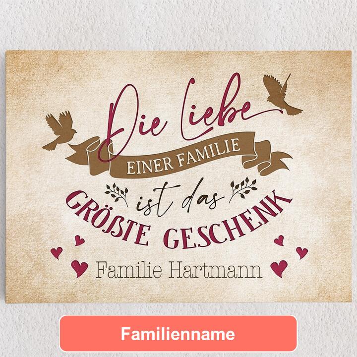 Personalisiertes Leinwandbild Liebe der Familie