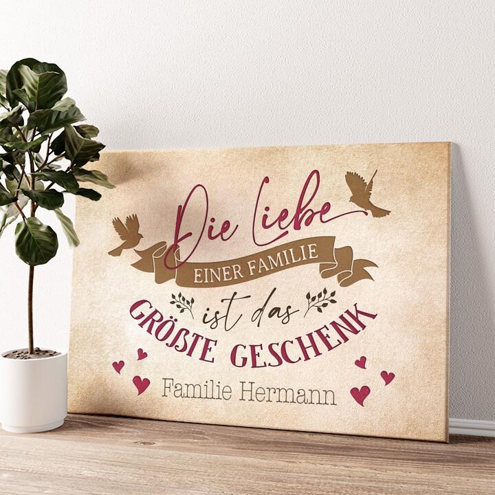 Liebe der Familie Wandbild personalisiert