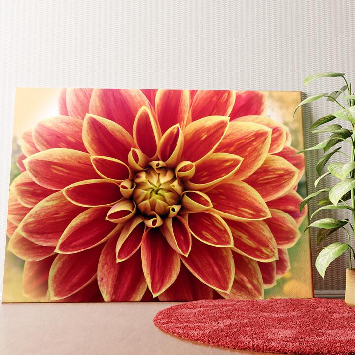 Personalisiertes Wandbild Rote Chrysantheme