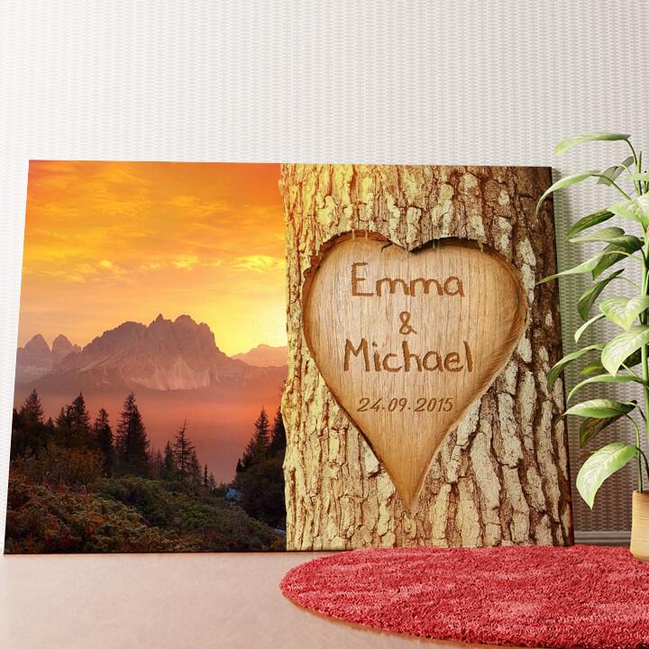 Personalisiertes Wandbild Verewigte Liebe