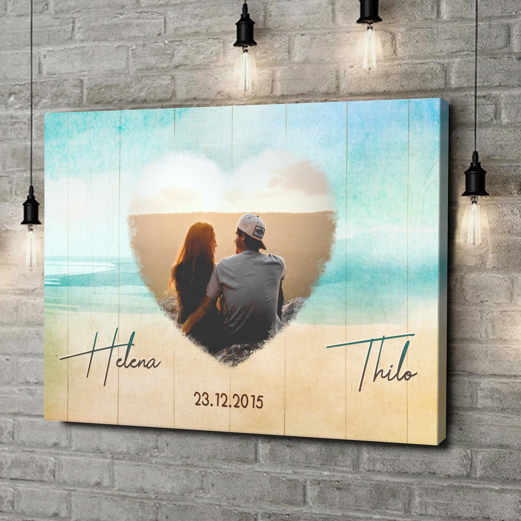 Leinwandbild personalisiert Strand der Liebe