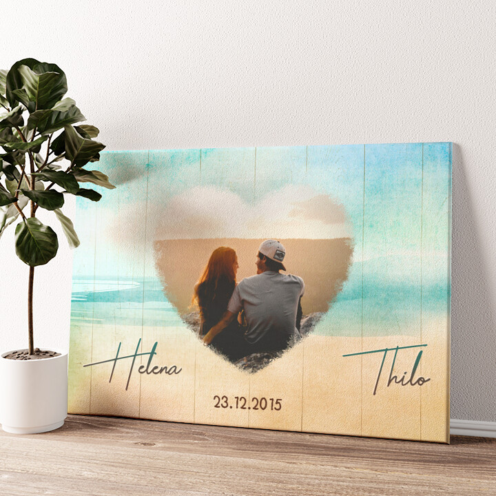 Strand der Liebe Wandbild personalisiert