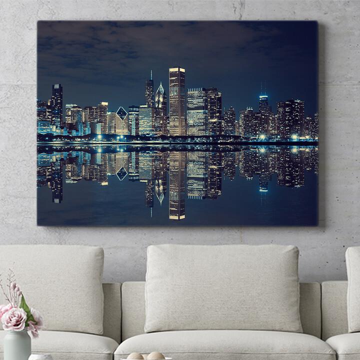 Personalisierbares Geschenk Chicago Skyline
