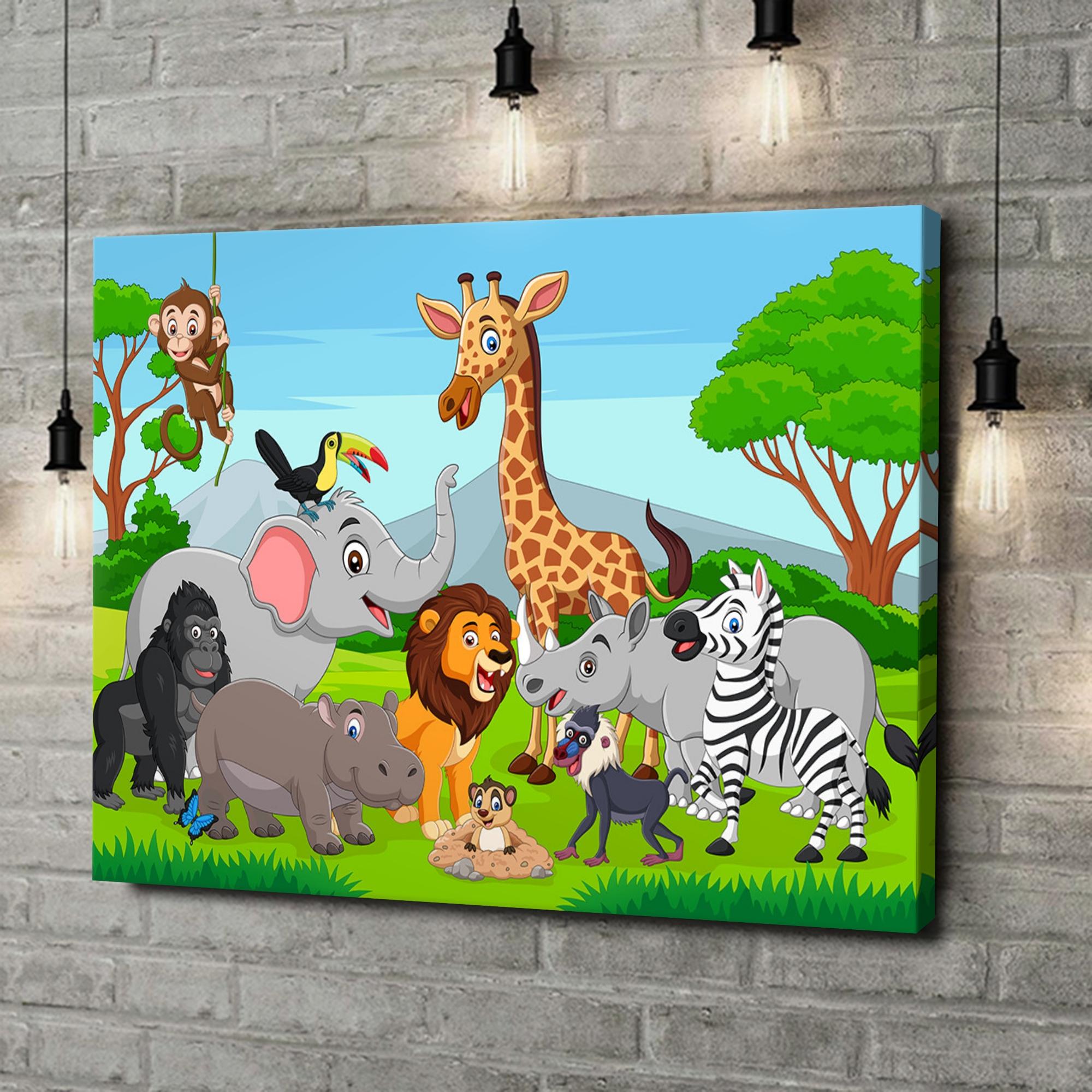 Leinwandbild personalisiert Cartoon Tiere