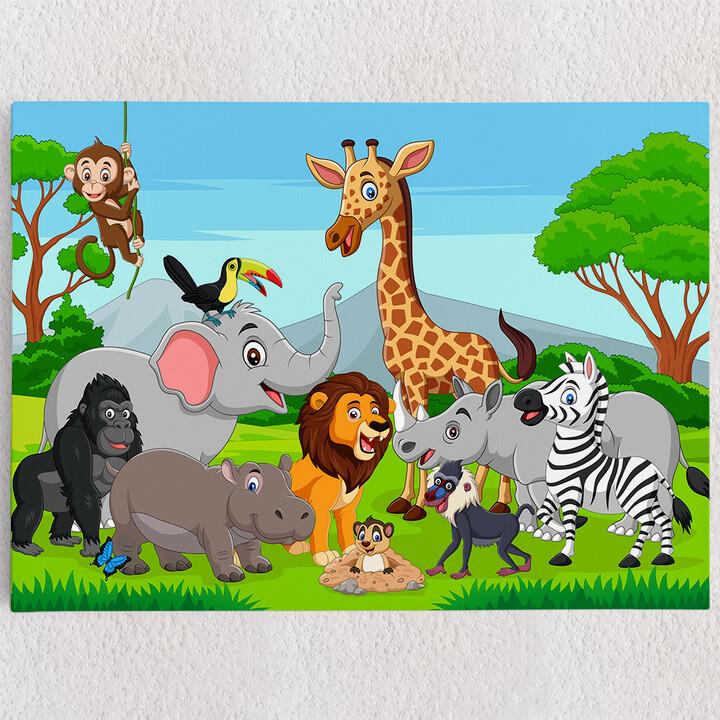 Personalisiertes Leinwandbild Cartoon Tiere
