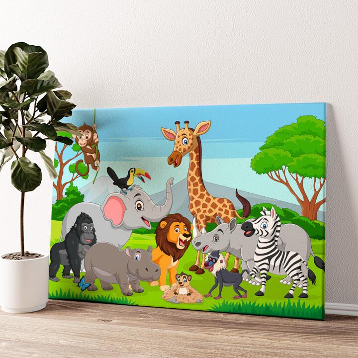 Cartoon Tiere Wandbild personalisiert