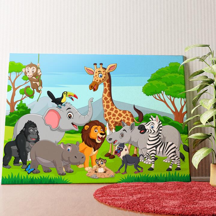 Personalisiertes Wandbild Cartoon Tiere