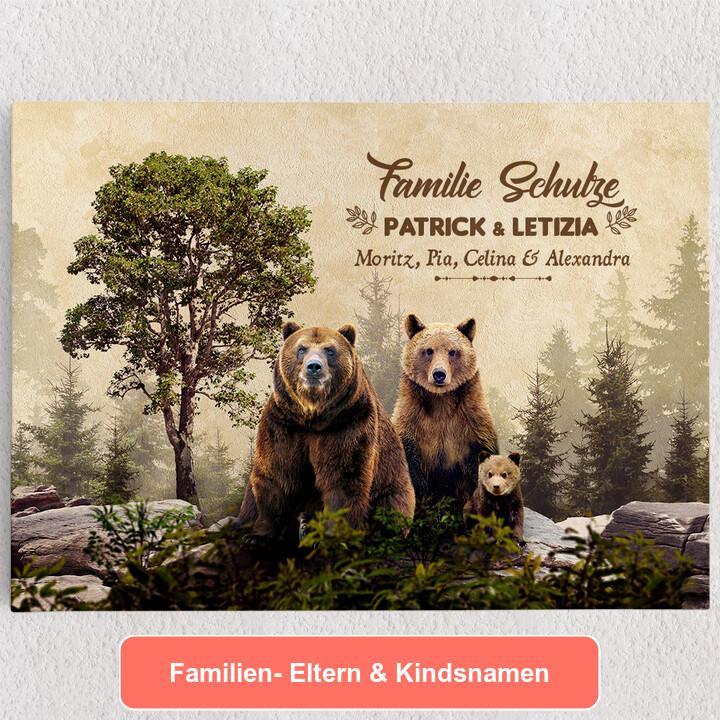 Personalisiertes Leinwandbild Bärenfamilie