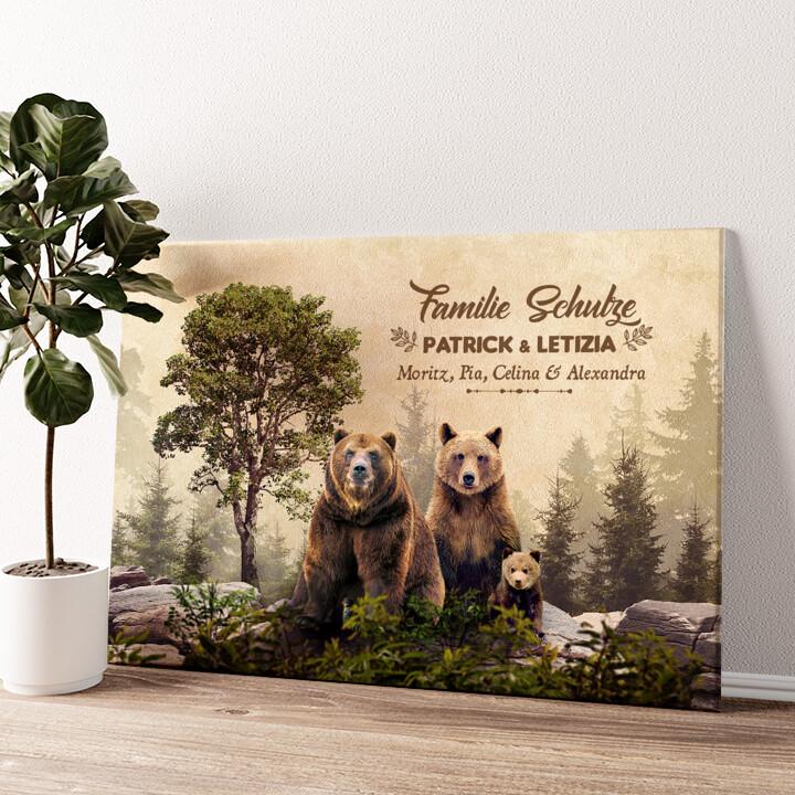 Bärenfamilie Wandbild personalisiert